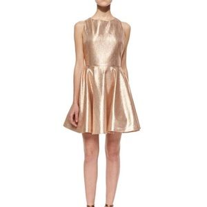 Alice + Olivia Lia Metallic Open-Back Dress